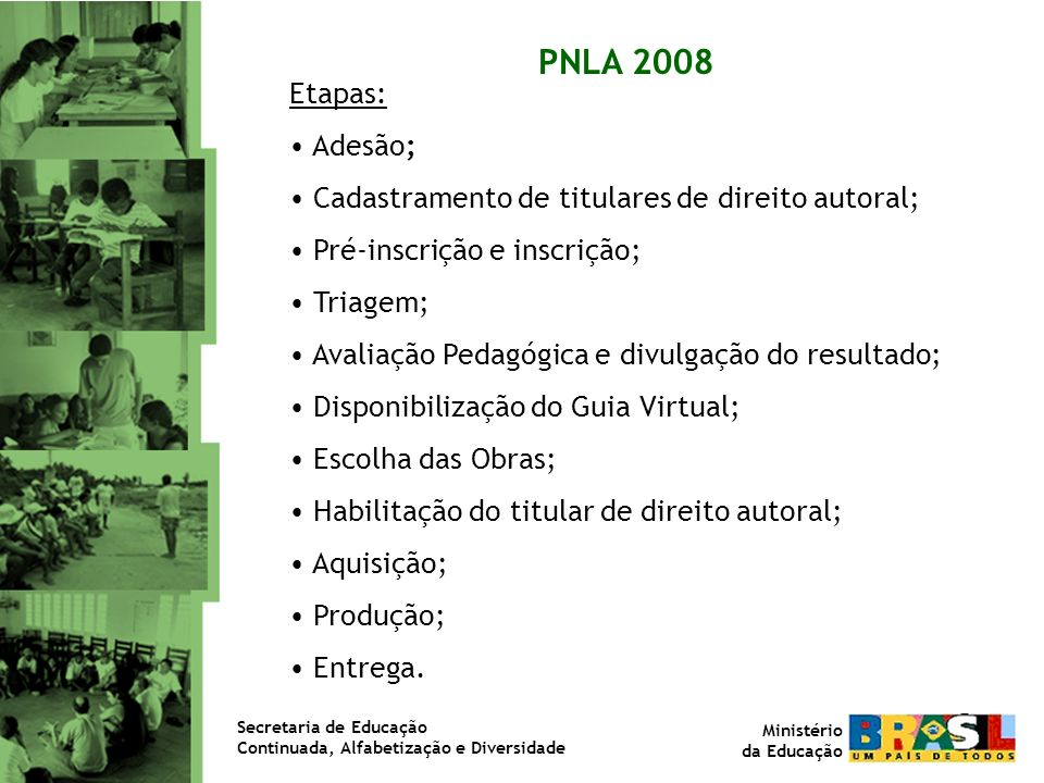 PNLA 2008 Etapas: Adesão; Cadastramento de titulares de direito autoral; Pré-inscrição e inscrição; Triagem; Avaliação Pedagógica e divulgação do resu