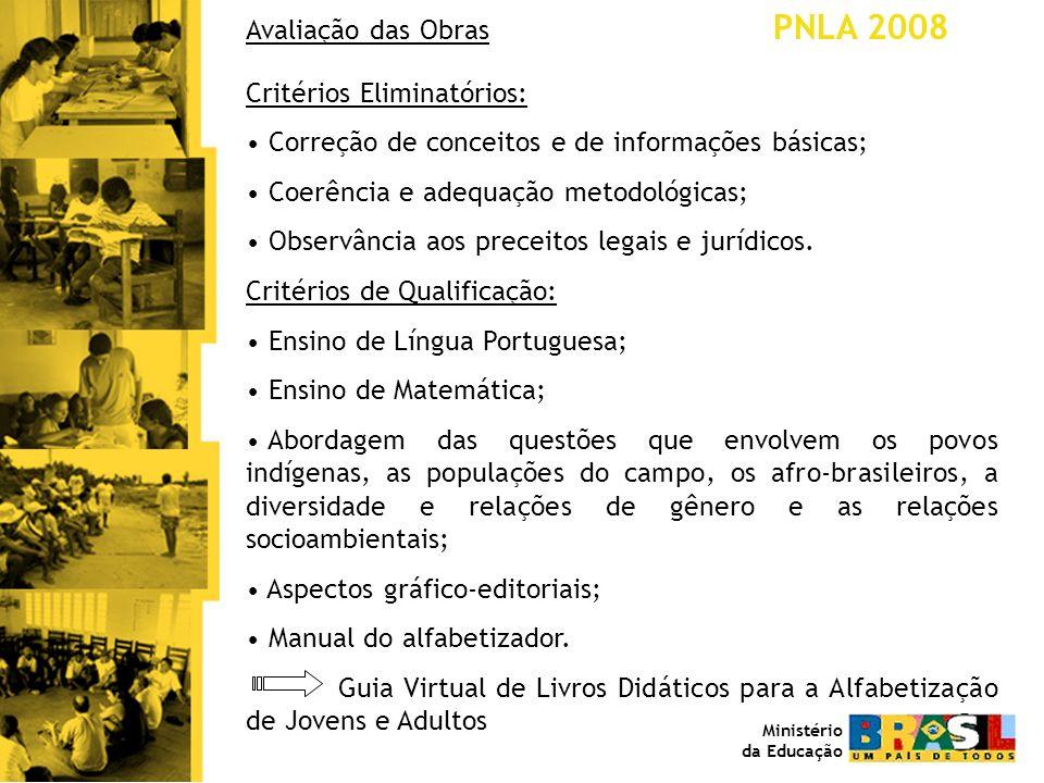 Avaliação das Obras PNLA 2008 Critérios Eliminatórios: Correção de conceitos e de informações básicas; Coerência e adequação metodológicas; Observânci