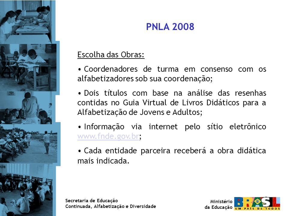 Aquisição das Obras: Com base na meta de alfabetização das entidades parceiras do Programa Brasil Alfabetizado para 2008.