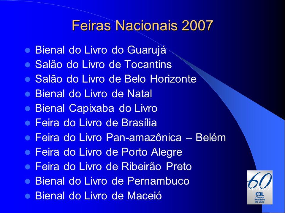 Feiras Nacionais 2007 Bienal do Livro do Guarujá Salão do Livro de Tocantins Salão do Livro de Belo Horizonte Bienal do Livro de Natal Bienal Capixaba