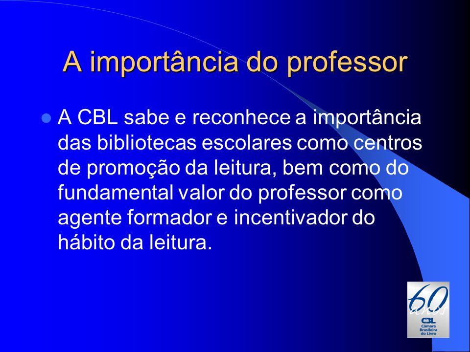 A importância do professor A CBL sabe e reconhece a importância das bibliotecas escolares como centros de promoção da leitura, bem como do fundamental