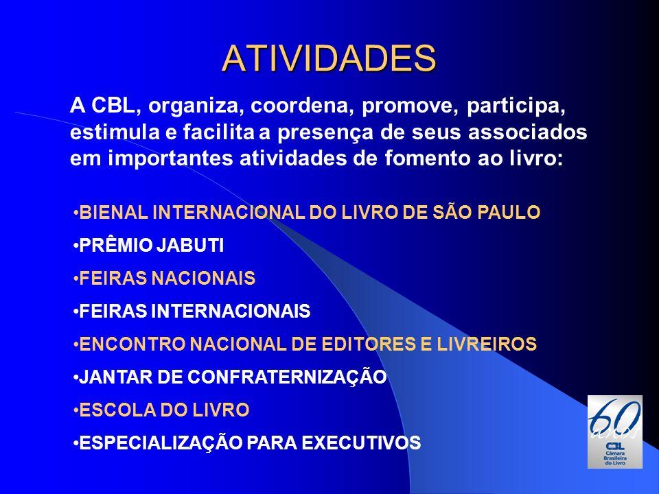 ATIVIDADES A CBL, organiza, coordena, promove, participa, estimula e facilita a presença de seus associados em importantes atividades de fomento ao li