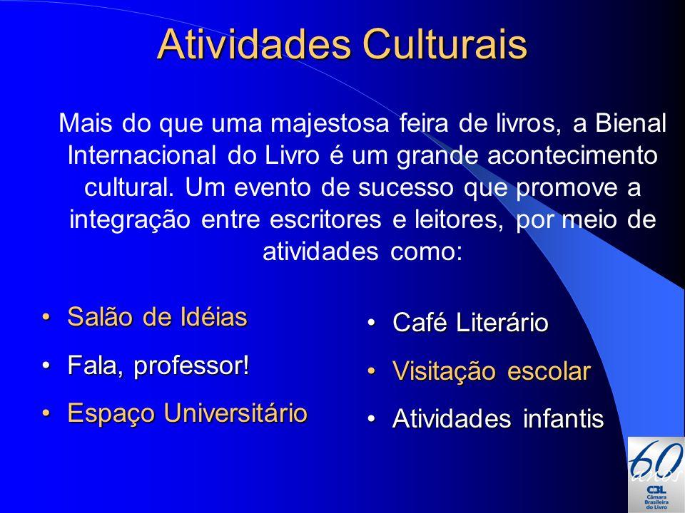 Atividades Culturais Salão de IdéiasSalão de Idéias Fala, professor!Fala, professor! Espaço UniversitárioEspaço Universitário Café LiterárioCafé Liter