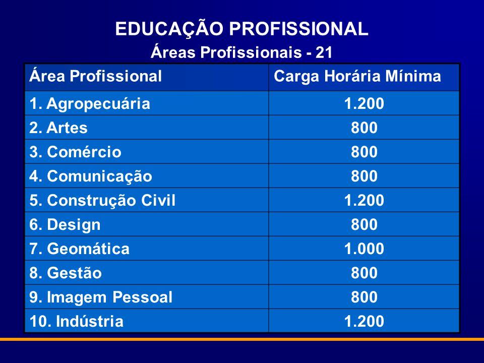 EDUCAÇÃO PROFISSIONAL Áreas Profissionais - 21 Área ProfissionalCarga Horária Mínima 1. Agropecuária1.200 2. Artes800 3. Comércio800 4. Comunicação800