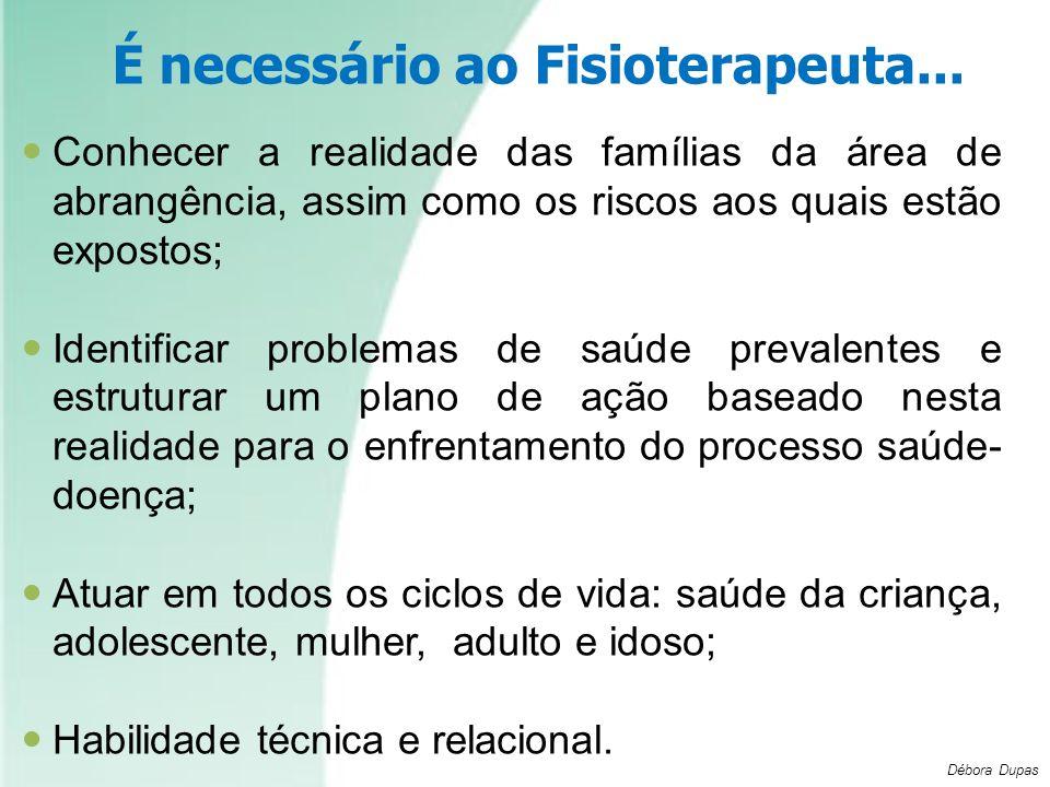 É necessário ao Fisioterapeuta... Conhecer a realidade das famílias da área de abrangência, assim como os riscos aos quais estão expostos; Identificar
