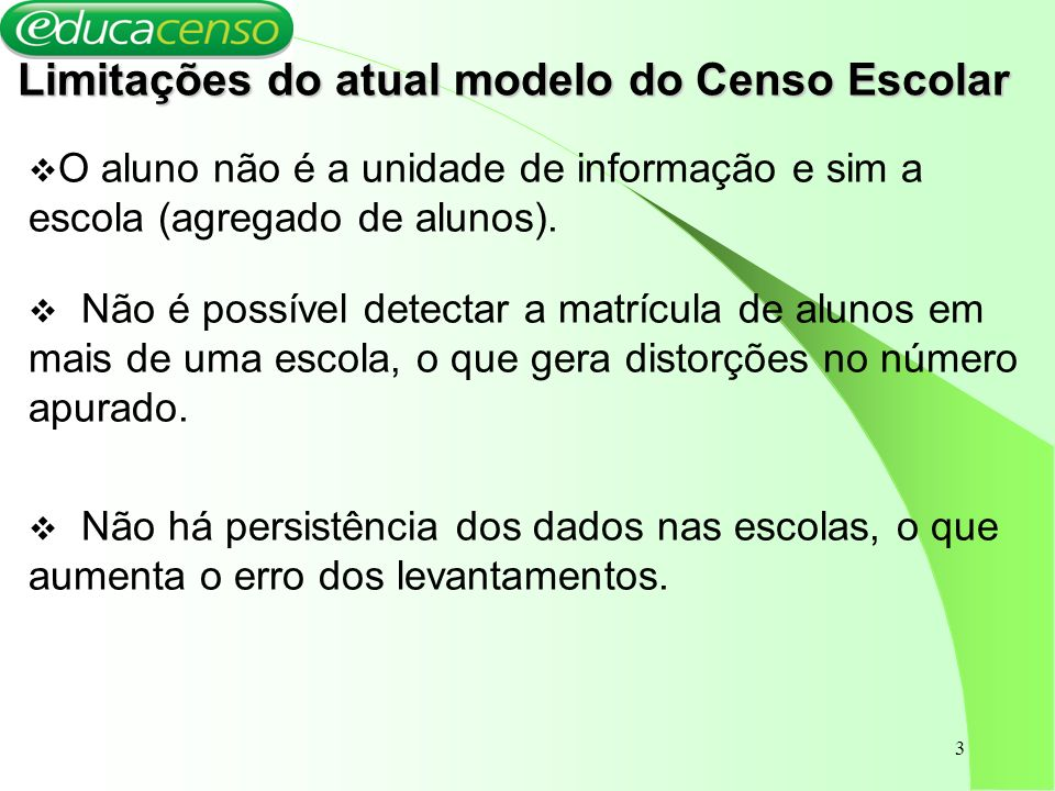 4 O Censo Escolar 2007 – via Internet As mudanças propostas: Utilização da ferramenta WEB; Mudança da unidade da informação da escola para os alunos e da função docente para os docentes.
