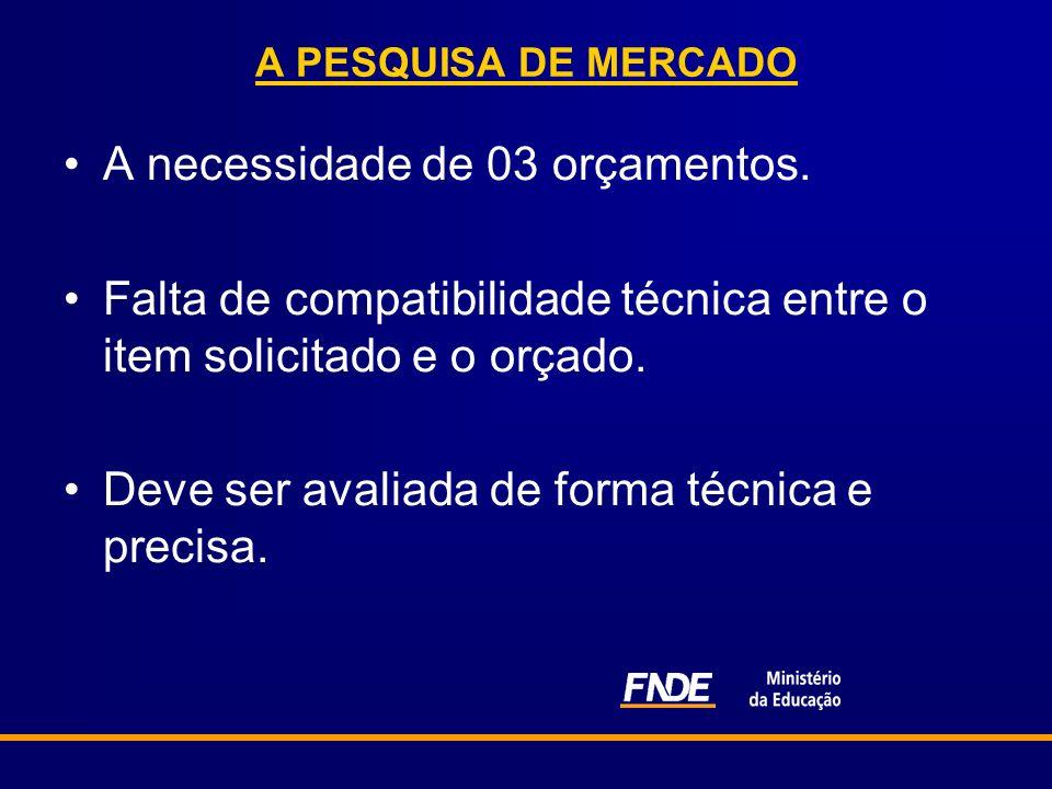 A PESQUISA DE MERCADO A necessidade de 03 orçamentos. Falta de compatibilidade técnica entre o item solicitado e o orçado. Deve ser avaliada de forma