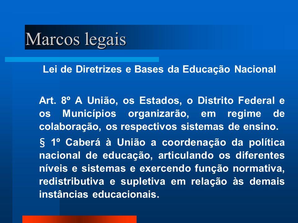 Lei de Diretrizes e Bases da Educação Nacional Art. 8º A União, os Estados, o Distrito Federal e os Municípios organizarão, em regime de colaboração,