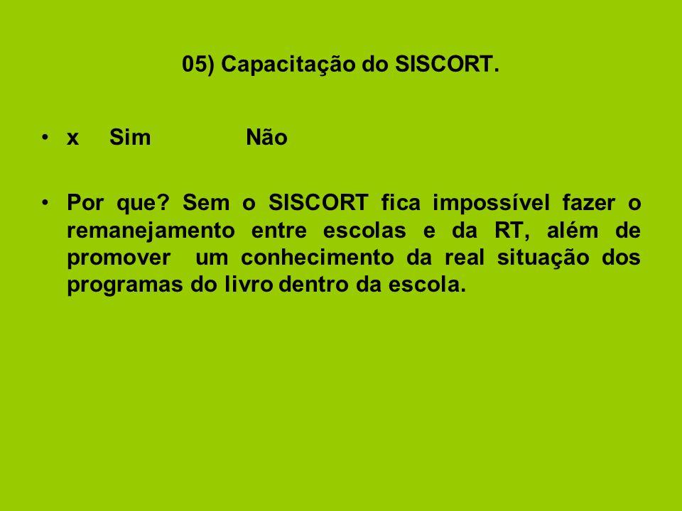 05) Capacitação do SISCORT. xSimNão Por que.