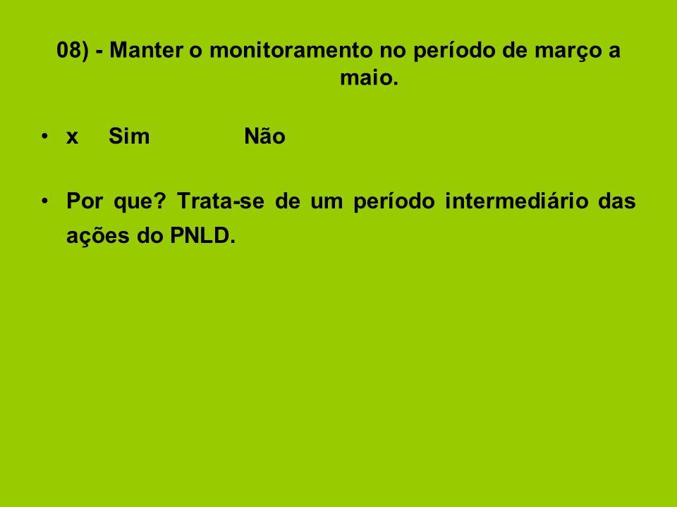 08) - Manter o monitoramento no período de março a maio.