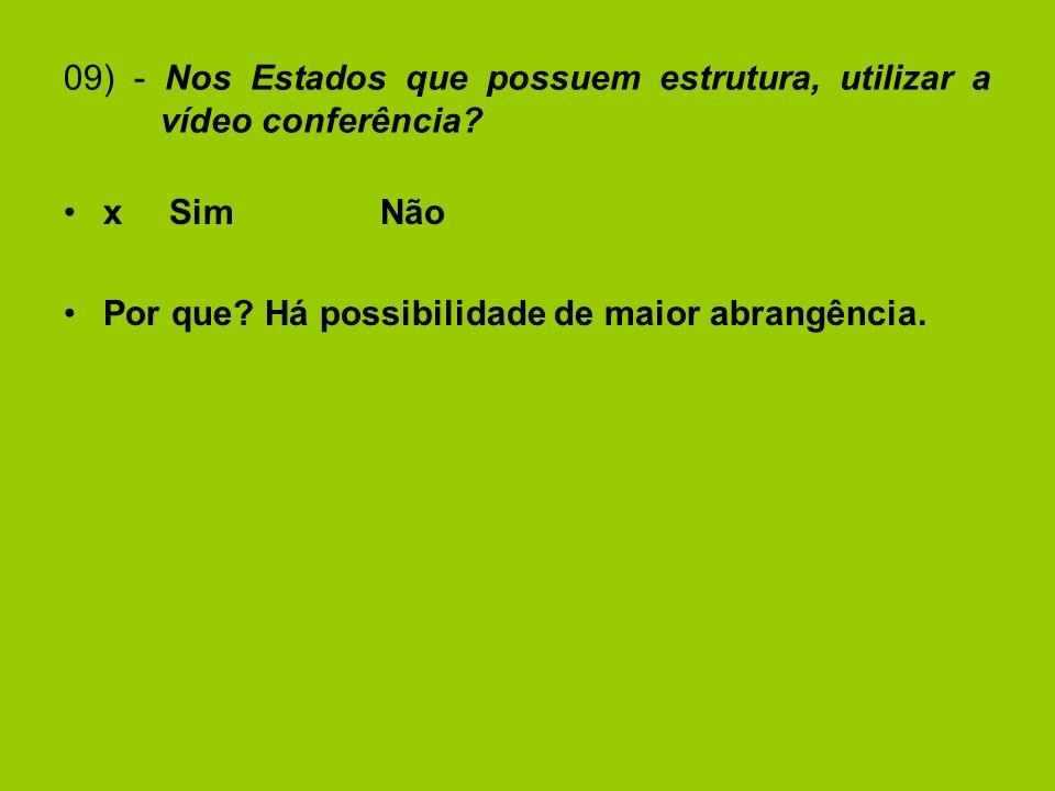 09) - Nos Estados que possuem estrutura, utilizar a vídeo conferência.