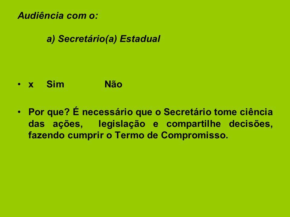 Audiência com o: a) Secretário(a) Estadual xSimNão Por que.