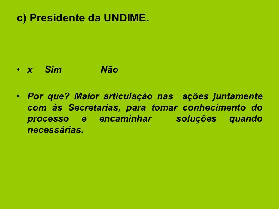 c) Presidente da UNDIME. xSimNão Por que.