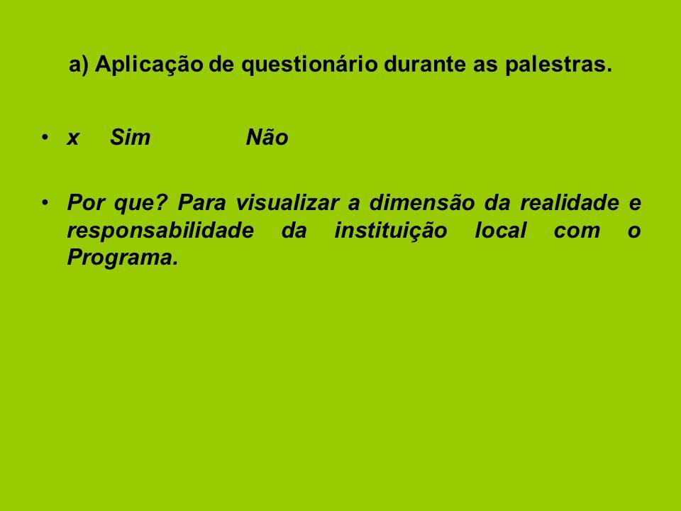 a) Aplicação de questionário durante as palestras.