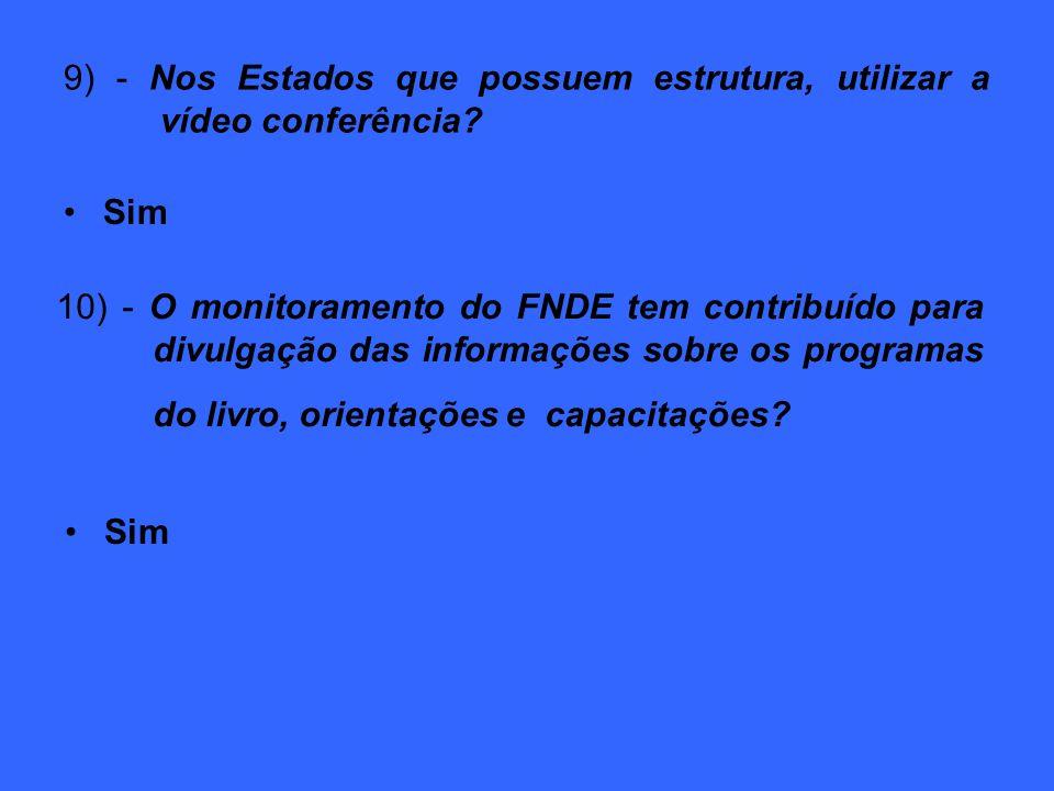 9) - Nos Estados que possuem estrutura, utilizar a vídeo conferência.