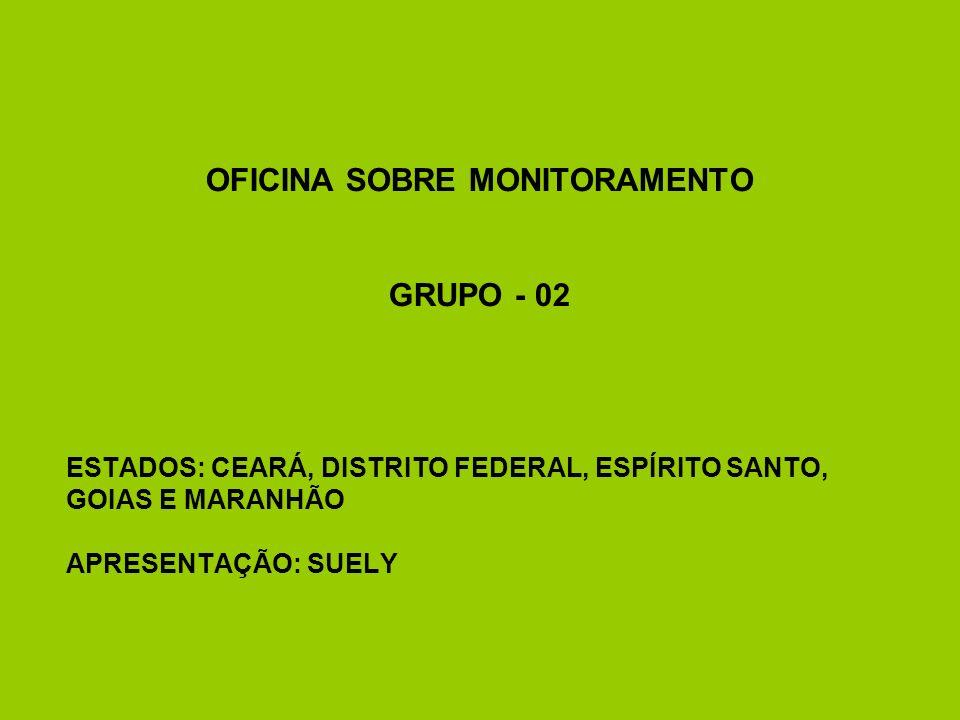 OFICINA SOBRE MONITORAMENTO GRUPO - 02 ESTADOS: CEARÁ, DISTRITO FEDERAL, ESPÍRITO SANTO, GOIAS E MARANHÃO APRESENTAÇÃO: SUELY