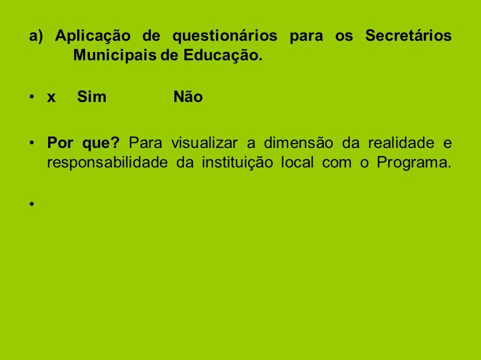a) Aplicação de questionários para os Secretários Municipais de Educação.
