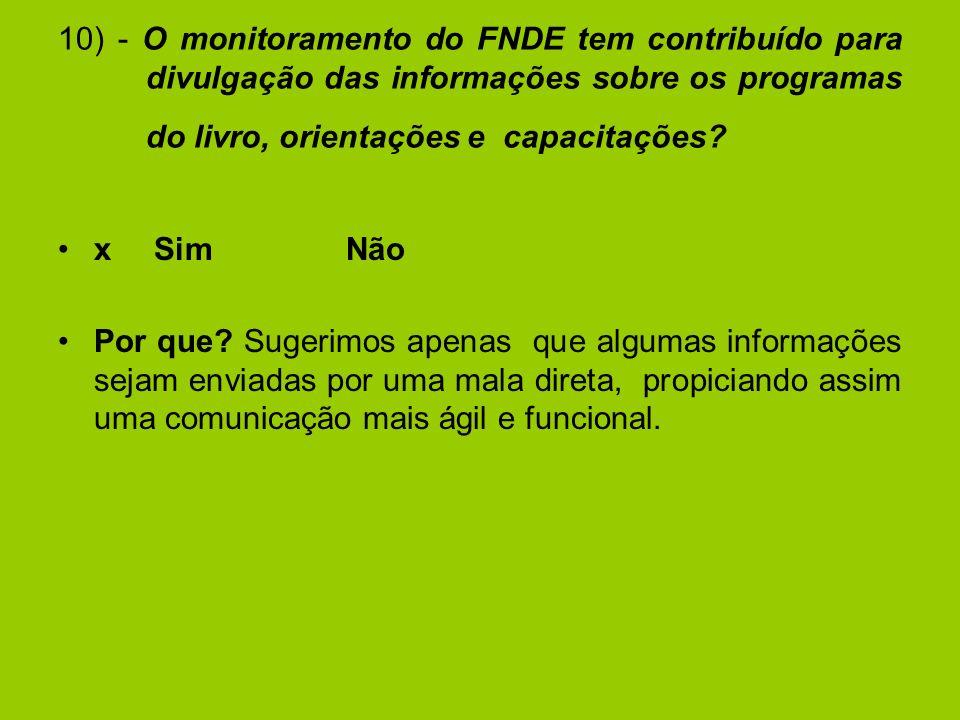 10) - O monitoramento do FNDE tem contribuído para divulgação das informações sobre os programas do livro, orientações e capacitações.