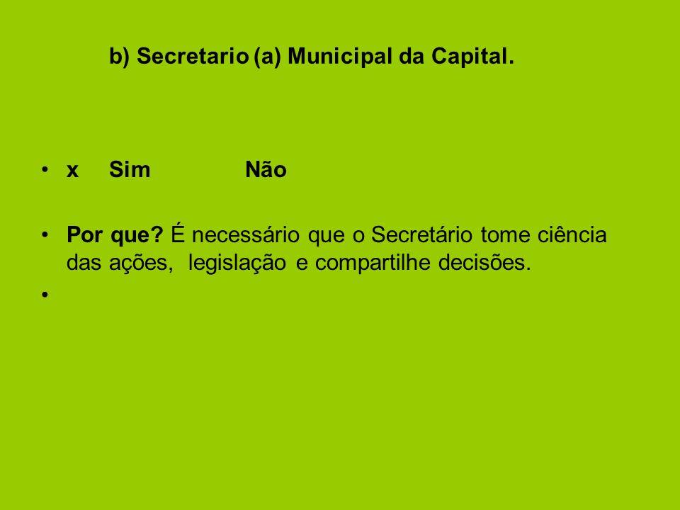 b) Secretario (a) Municipal da Capital.xSimNão Por que.