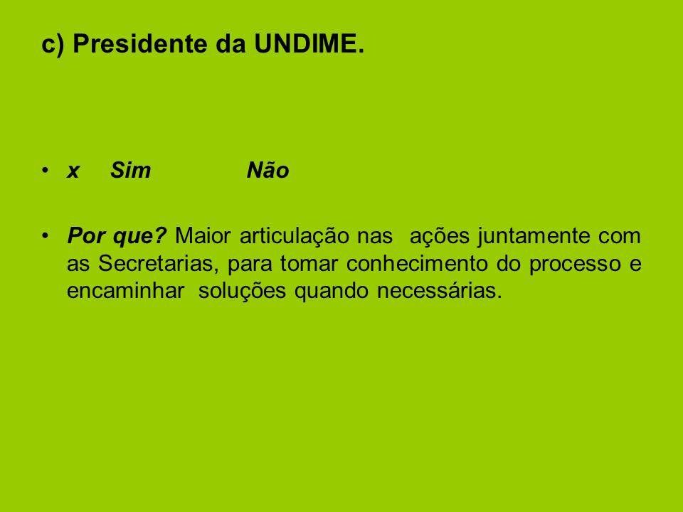 c) Presidente da UNDIME.xSimNão Por que.