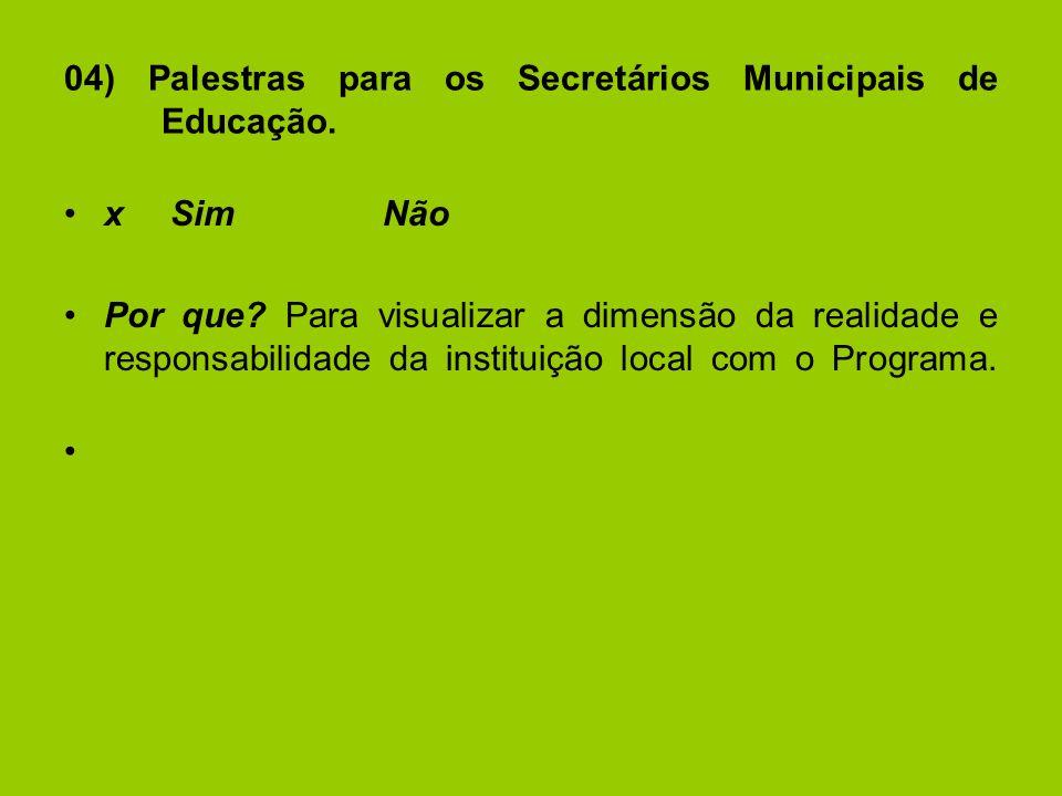 04) Palestras para os Secretários Municipais de Educação.