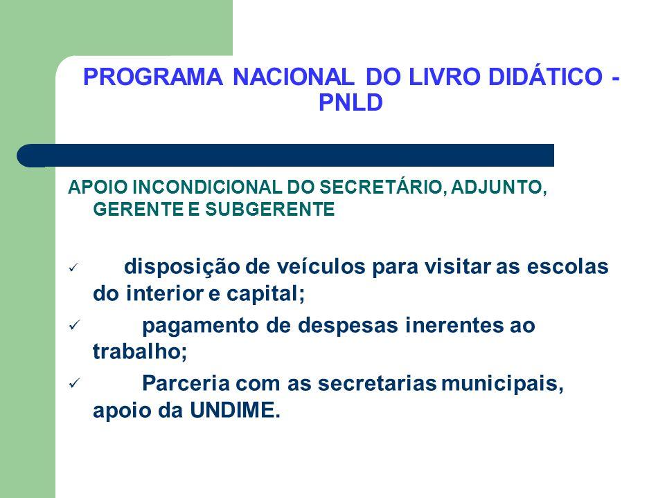 PROGRAMA NACIONAL DO LIVRO DIDÁTICO - PNLD APOIO INCONDICIONAL DO SECRETÁRIO, ADJUNTO, GERENTE E SUBGERENTE disposição de veículos para visitar as esc