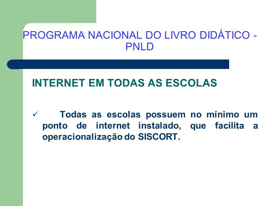PROGRAMA NACIONAL DO LIVRO DIDÁTICO - PNLD INTERNET EM TODAS AS ESCOLAS Todas as escolas possuem no mínimo um ponto de internet instalado, que facilit