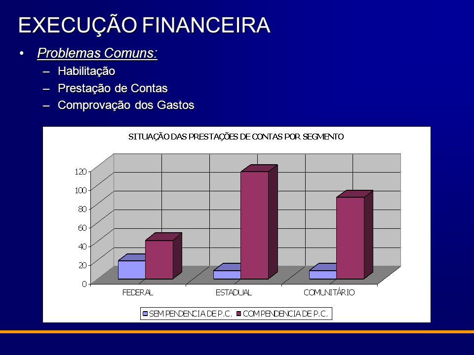 Problemas Comuns:Problemas Comuns: –Habilitação –Prestação de Contas –Comprovação dos Gastos EXECUÇÃO FINANCEIRA