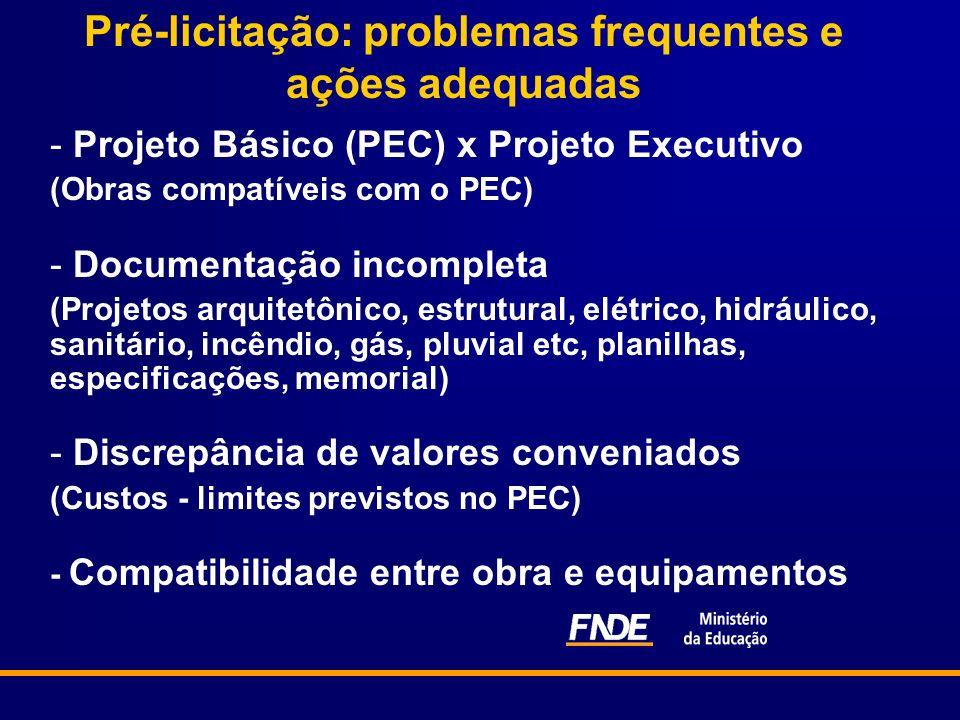 Pré-licitação: problemas frequentes e ações adequadas - Projeto Básico (PEC) x Projeto Executivo (Obras compatíveis com o PEC) - Documentação incomple