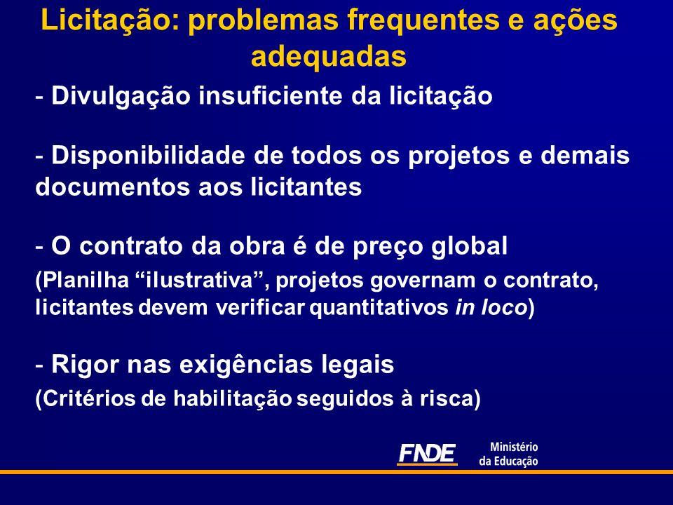 Licitação: problemas frequentes e ações adequadas - Divulgação insuficiente da licitação - Disponibilidade de todos os projetos e demais documentos ao