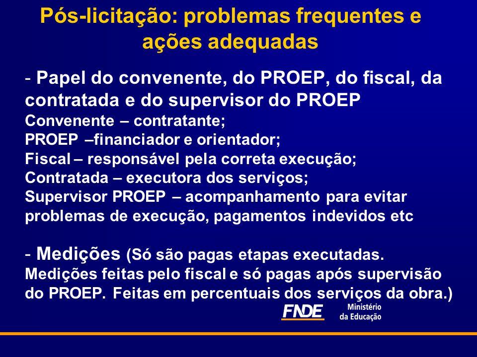 Pós-licitação: problemas frequentes e ações adequadas - Papel do convenente, do PROEP, do fiscal, da contratada e do supervisor do PROEP Convenente –