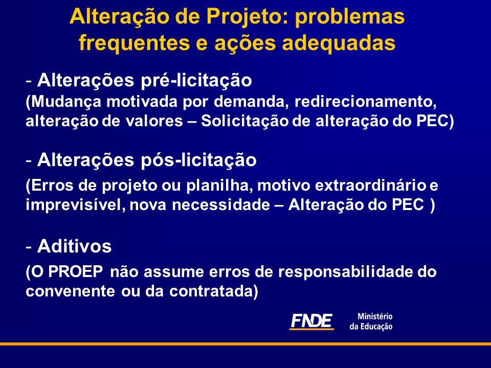 Alteração de Projeto: problemas frequentes e ações adequadas - Alterações pré-licitação (Mudança motivada por demanda, redirecionamento, alteração de