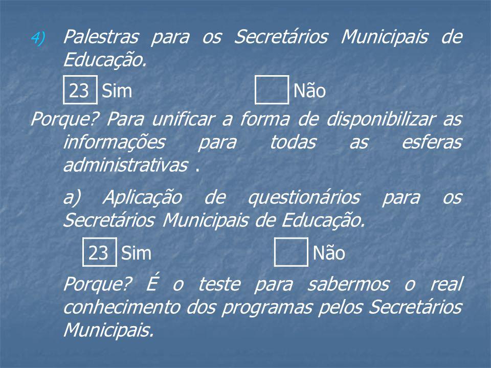 4) 4) Palestras para os Secretários Municipais de Educação.