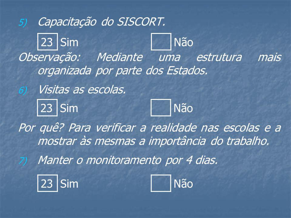 5) 5) Capacitação do SISCORT.