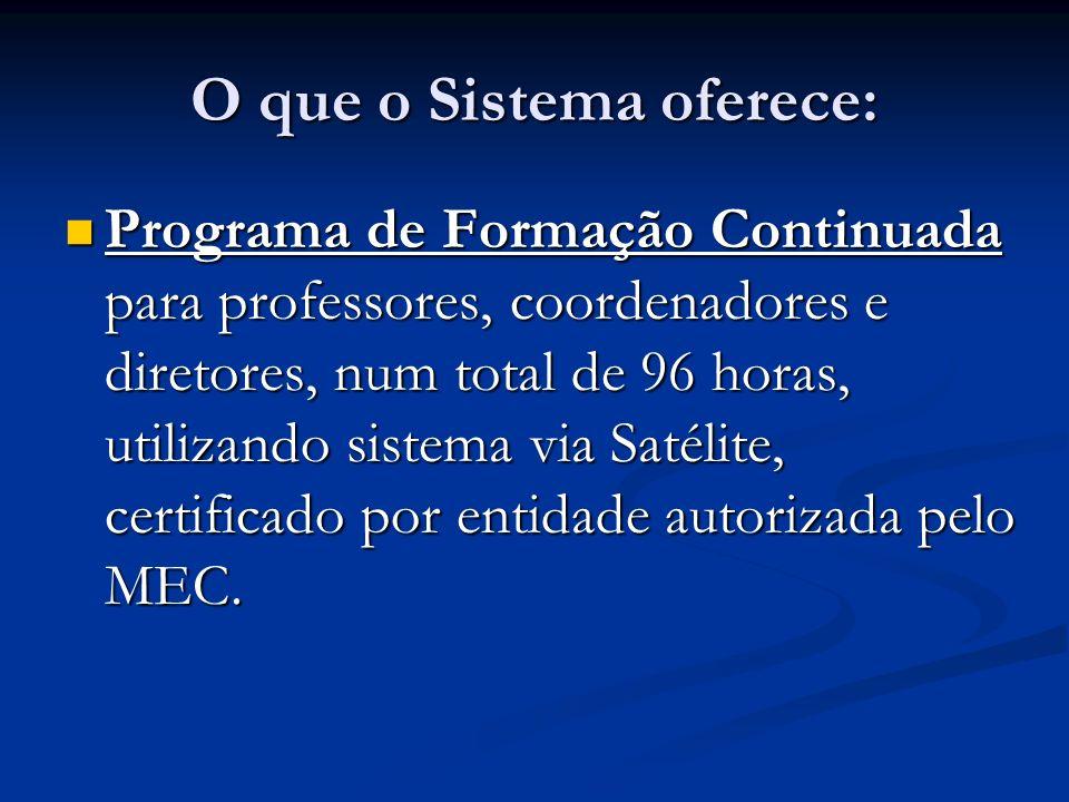 O que o Sistema oferece: Programa de Formação Continuada para professores, coordenadores e diretores, num total de 96 horas, utilizando sistema via Sa
