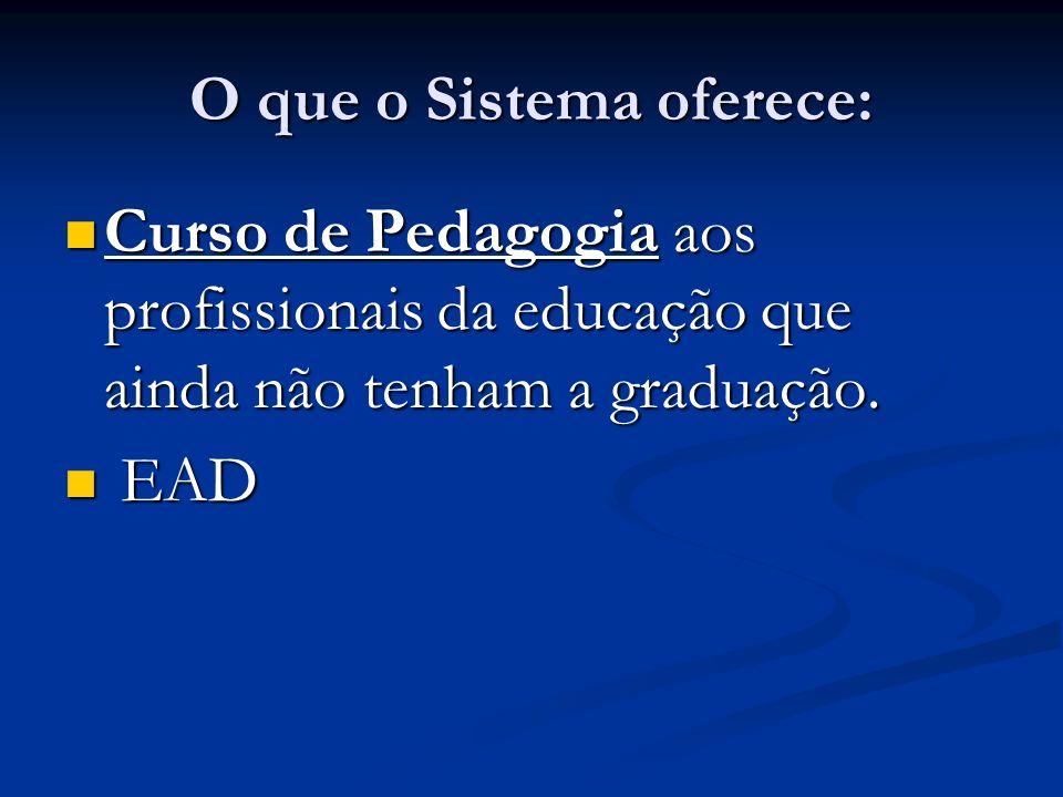 O que o Sistema oferece: Curso de Pedagogia aos profissionais da educação que ainda não tenham a graduação. Curso de Pedagogia aos profissionais da ed