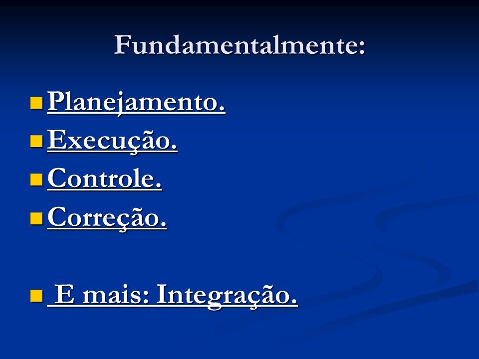 Fundamentalmente: Planejamento. Planejamento. Execução. Execução. Controle. Controle. Correção. Correção. E mais: Integração. E mais: Integração.