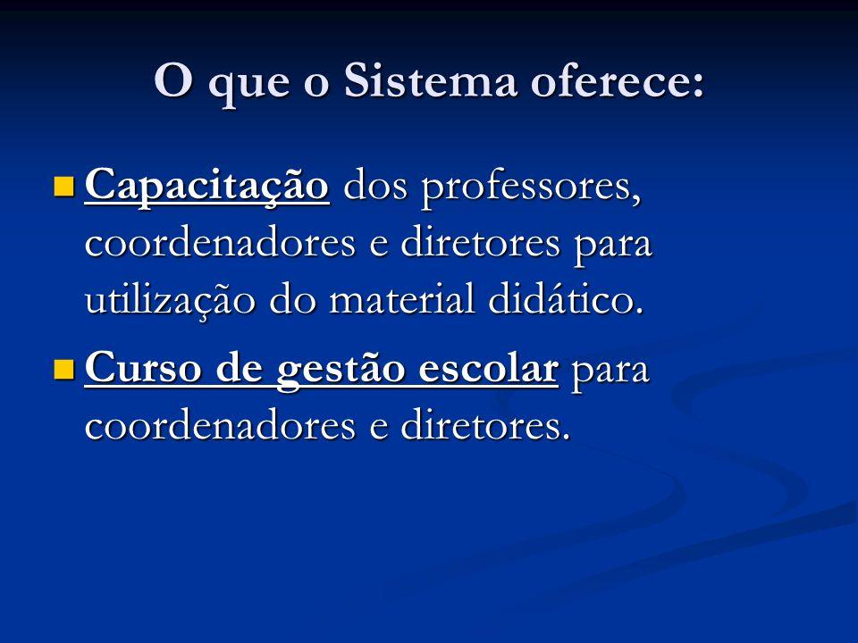 O que o Sistema oferece: Capacitação dos professores, coordenadores e diretores para utilização do material didático. Capacitação dos professores, coo