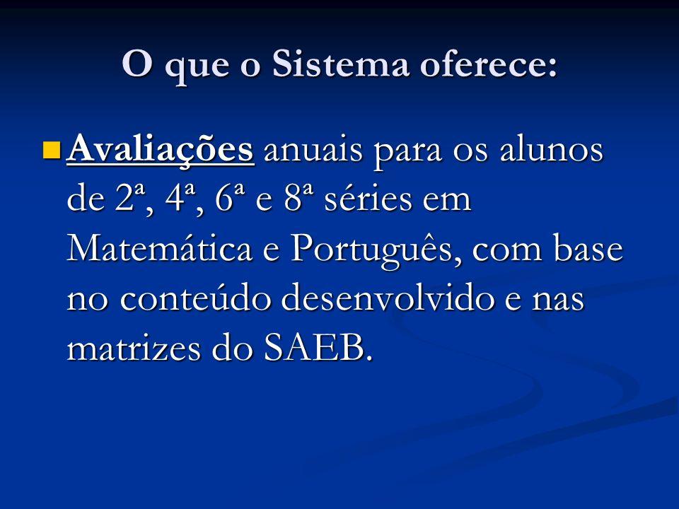 O que o Sistema oferece: Avaliações anuais para os alunos de 2ª, 4ª, 6ª e 8ª séries em Matemática e Português, com base no conteúdo desenvolvido e nas