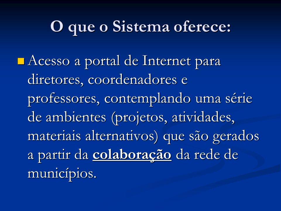 O que o Sistema oferece: Acesso a portal de Internet para diretores, coordenadores e professores, contemplando uma série de ambientes (projetos, ativi