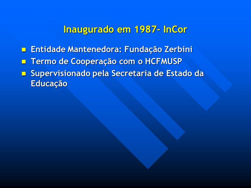 Inaugurado em 1987- InCor Entidade Mantenedora: Fundação Zerbini Entidade Mantenedora: Fundação Zerbini Termo de Cooperação com o HCFMUSP Termo de Coo