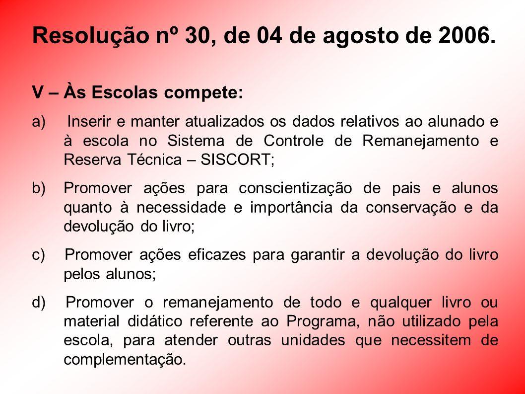Resolução nº 30, de 04 de agosto de 2006. V – Às Escolas compete: a) Inserir e manter atualizados os dados relativos ao alunado e à escola no Sistema
