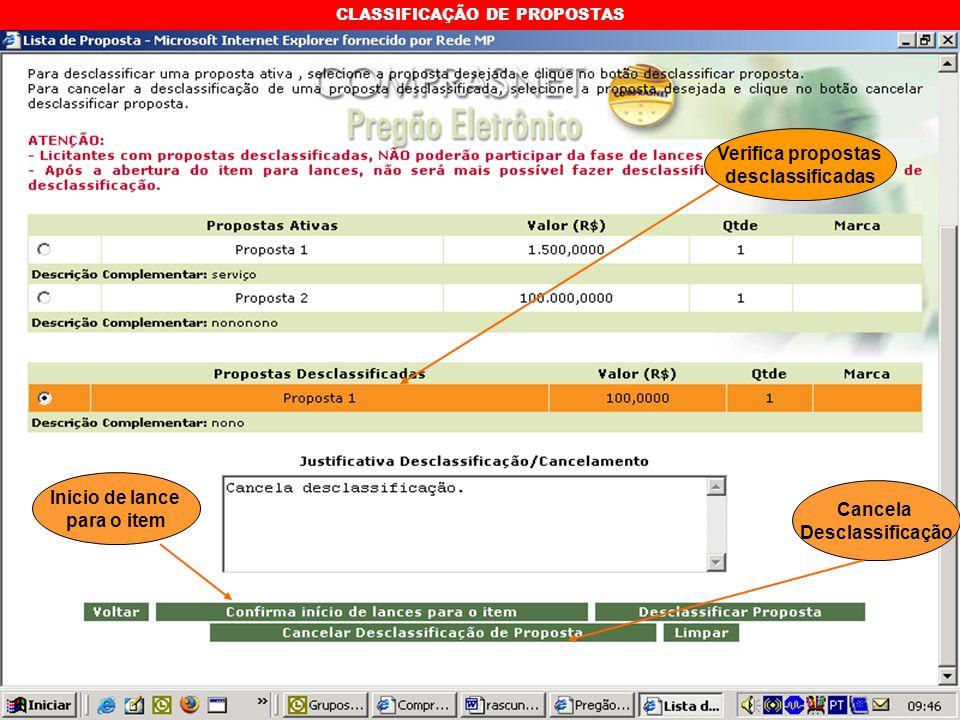 CLASSIFICAÇÃO DE PROPOSTAS Verifica propostas desclassificadas Inicio de lance para o item Cancela Desclassificação