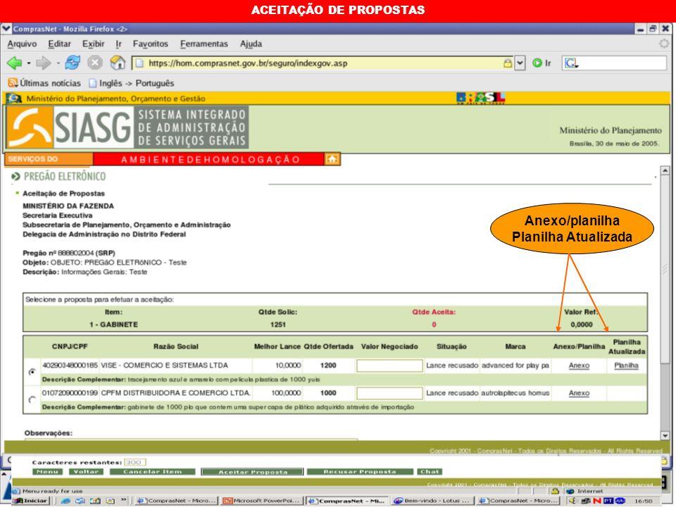 ACEITAÇÃO DE PROPOSTAS Anexo/planilha Planilha Atualizada