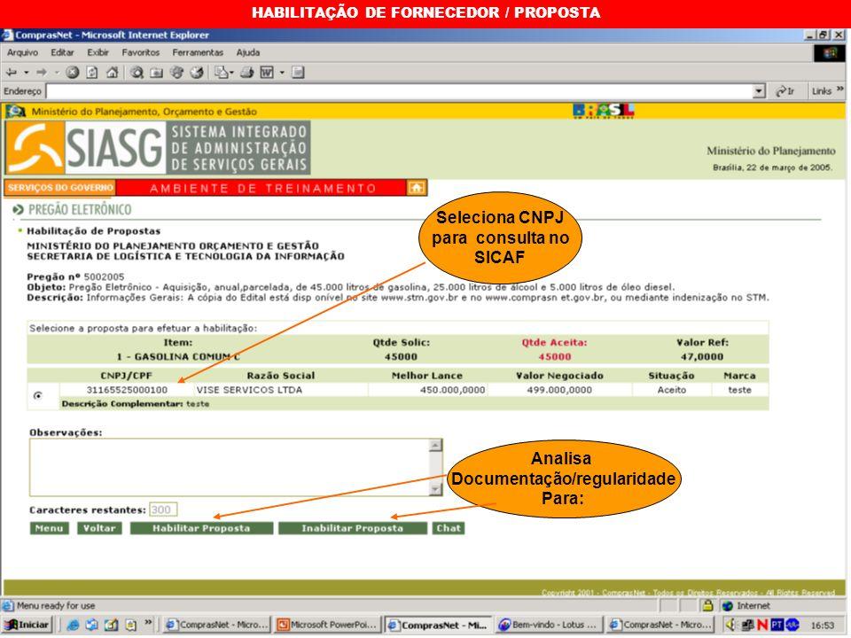 HABILITAÇÃO DE FORNECEDOR / PROPOSTA Seleciona CNPJ para consulta no SICAF Analisa Documentação/regularidade Para: