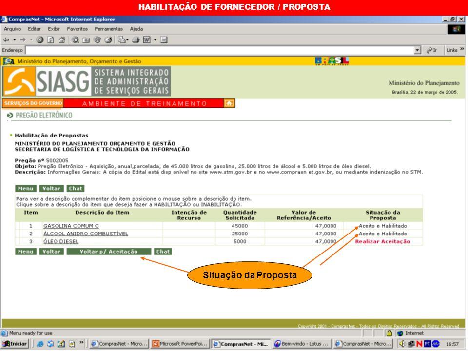 HABILITAÇÃO DE FORNECEDOR / PROPOSTA Situação da Proposta