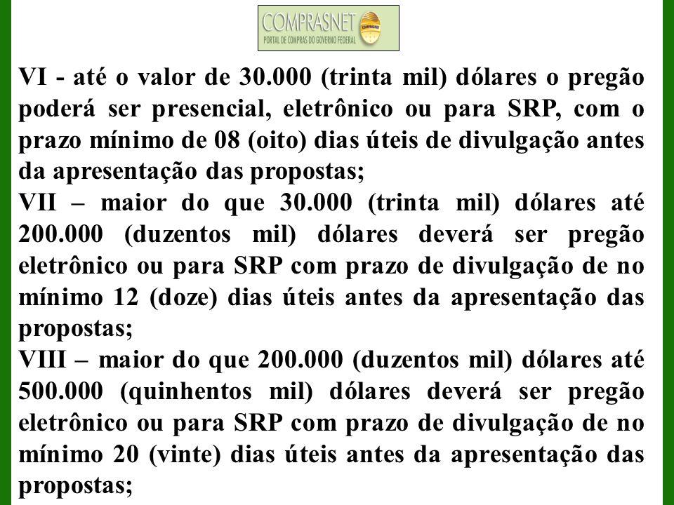 IX - nos contratos vigentes firmados com o BID até 19 de janeiro de 2005, o valor máximo para contratações é de 350.000 (trezentos e cinqüenta mil) dólares, a modalidade será o pregão eletrônico ou para SRP com prazo mínimo de divulgação de no mínimo 15 (quinze) dias úteis antes da apresentação das propostas e para os contratos vigentes firmados com o BID do dia 20 de janeiro de 2005 em diante aplica-se o item VIII deste.