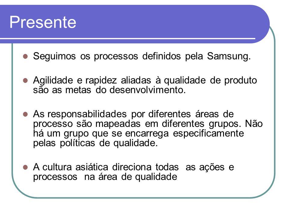 Presente Seguimos os processos definidos pela Samsung. Agilidade e rapidez aliadas à qualidade de produto são as metas do desenvolvimento. As responsa