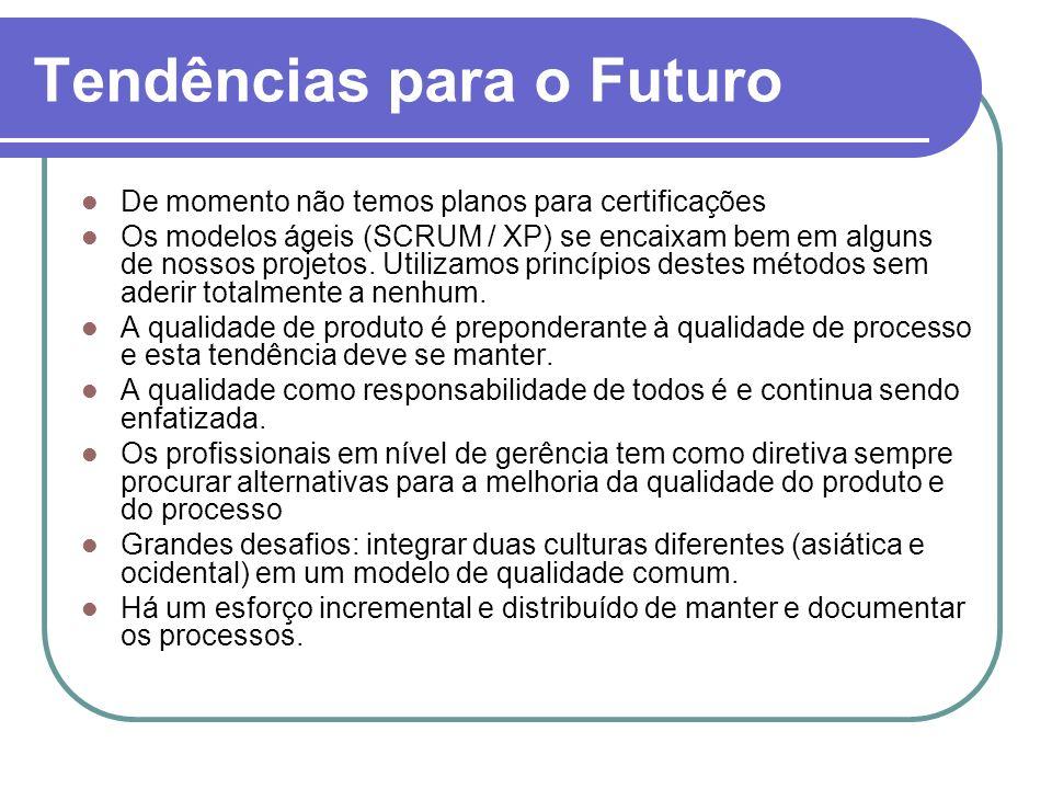 Tendências para o Futuro De momento não temos planos para certificações Os modelos ágeis (SCRUM / XP) se encaixam bem em alguns de nossos projetos. Ut