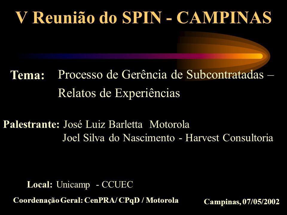 V Reunião do SPIN - CAMPINAS Coordenação Geral: CenPRA/ CPqD / Motorola Processo de Gerência de Subcontratadas – Relatos de Experiências Tema: Palestr